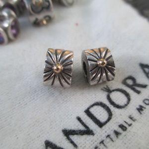 set of 2 Pandora Sunburst Silver Gold Clip Charms
